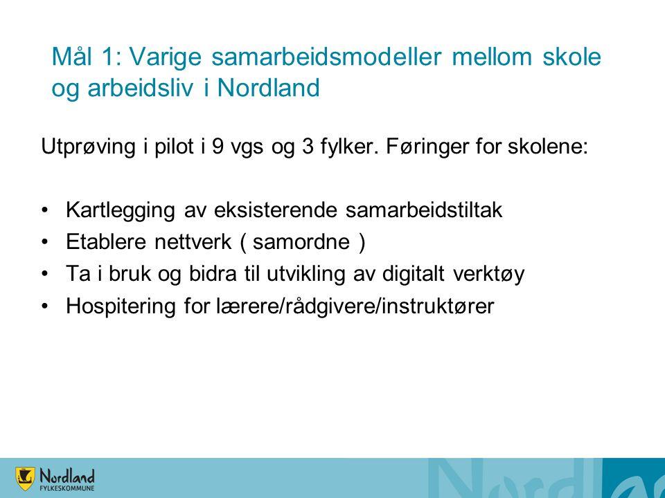Mål 1: Varige samarbeidsmodeller mellom skole og arbeidsliv i Nordland Utprøving i pilot i 9 vgs og 3 fylker.