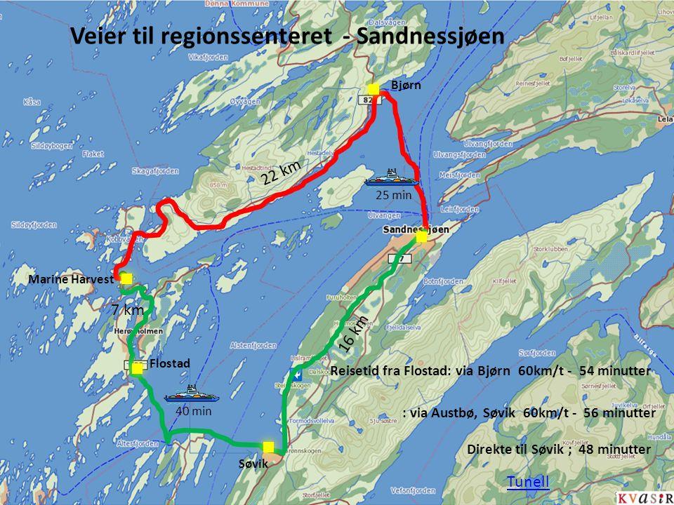 16 km 25 min40 min Marine Harvest 22 km 7 km Flostad Søvik Bjørn Reisetid fra Flostad: via Bjørn 60km/t - 54 minutter : via Austbø, Søvik 60km/t - 56 minutter Veier til regionssenteret - Sandnessjøen Direkte til Søvik ; 48 minutter Tunell