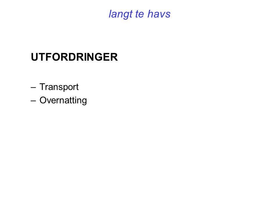 langt te havs UTFORDRINGER –Transport –Overnatting