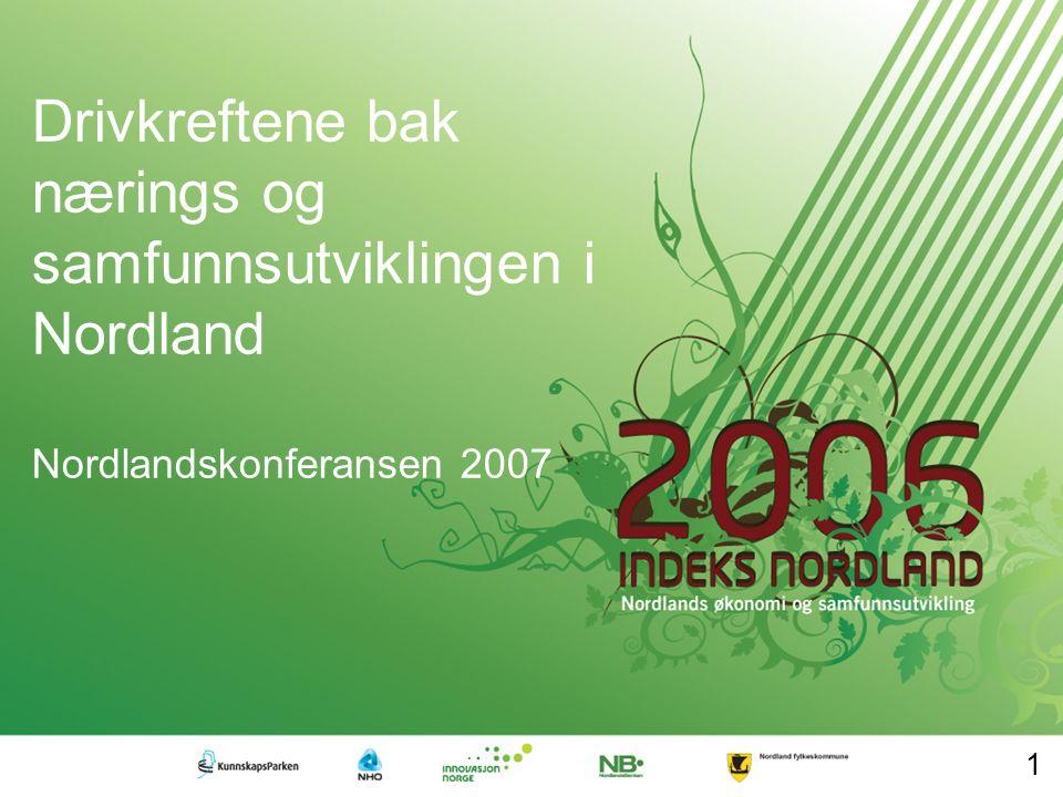 Velkommen til fjerde utgave av Indeks Nordland Partnerskapet Indeks Nordland overvåker og kommenterer Nordlands økonomi og samfunnsutvikling Bak Indeks Nordland står Nordland Fylkeskommune, Nordlandsbanken ASA, Innovasjon Norge, NHO Nordland, og Kunnskapsparken Bodø AS.