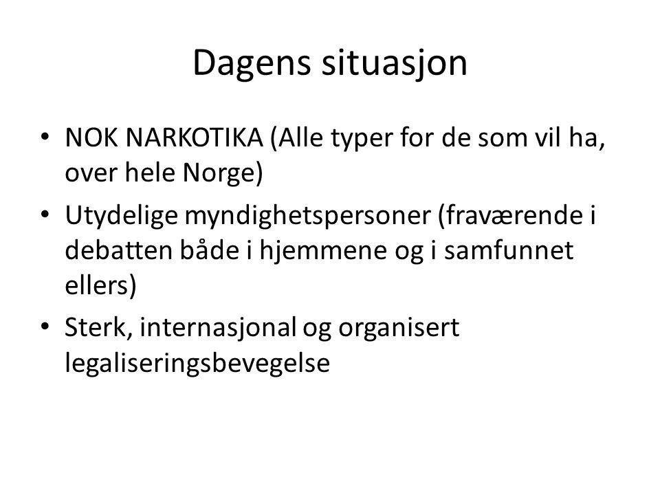 Dagens situasjon NOK NARKOTIKA (Alle typer for de som vil ha, over hele Norge) Utydelige myndighetspersoner (fraværende i debatten både i hjemmene og i samfunnet ellers) Sterk, internasjonal og organisert legaliseringsbevegelse