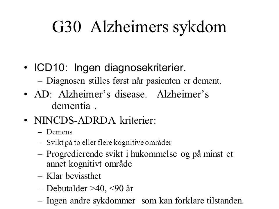 G30 Alzheimers sykdom ICD10: Ingen diagnosekriterier. –Diagnosen stilles først når pasienten er dement. AD: Alzheimer's disease. Alzheimer's dementia.