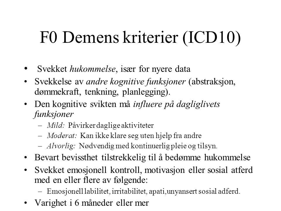 F0 Demens kriterier (ICD10) Svekket hukommelse, især for nyere data Svekkelse av andre kognitive funksjoner (abstraksjon, dømmekraft, tenkning, planle