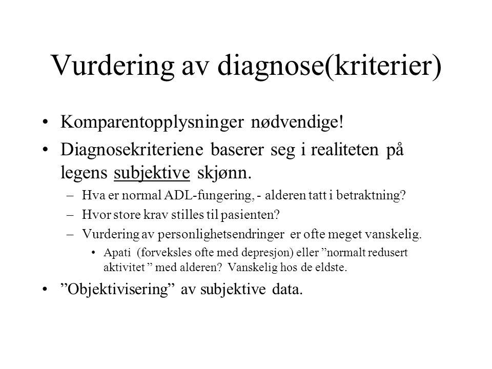 Vurdering av diagnose(kriterier) Komparentopplysninger nødvendige! Diagnosekriteriene baserer seg i realiteten på legens subjektive skjønn. –Hva er no
