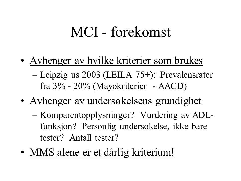 MCI - forekomst Avhenger av hvilke kriterier som brukes –Leipzig us 2003 (LEILA 75+): Prevalensrater fra 3% - 20% (Mayokriterier - AACD) Avhenger av undersøkelsens grundighet –Komparentopplysninger.