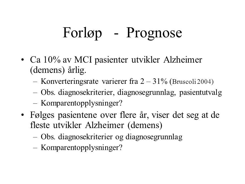 Forløp - Prognose Ca 10% av MCI pasienter utvikler Alzheimer (demens) årlig. –Konverteringsrate varierer fra 2 – 31% ( Bruscoli 2004) –Obs. diagnosekr
