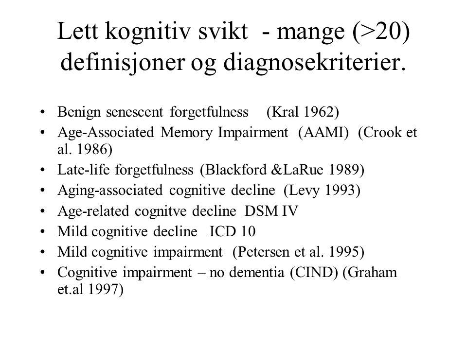 Lett kognitiv svikt - mange (>20) definisjoner og diagnosekriterier. Benign senescent forgetfulness (Kral 1962) Age-Associated Memory Impairment (AAMI