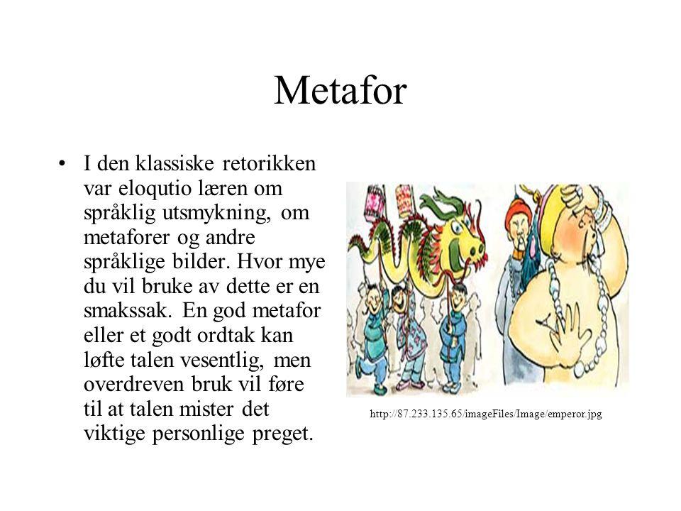 Metafor I den klassiske retorikken var eloqutio læren om språklig utsmykning, om metaforer og andre språklige bilder. Hvor mye du vil bruke av dette e