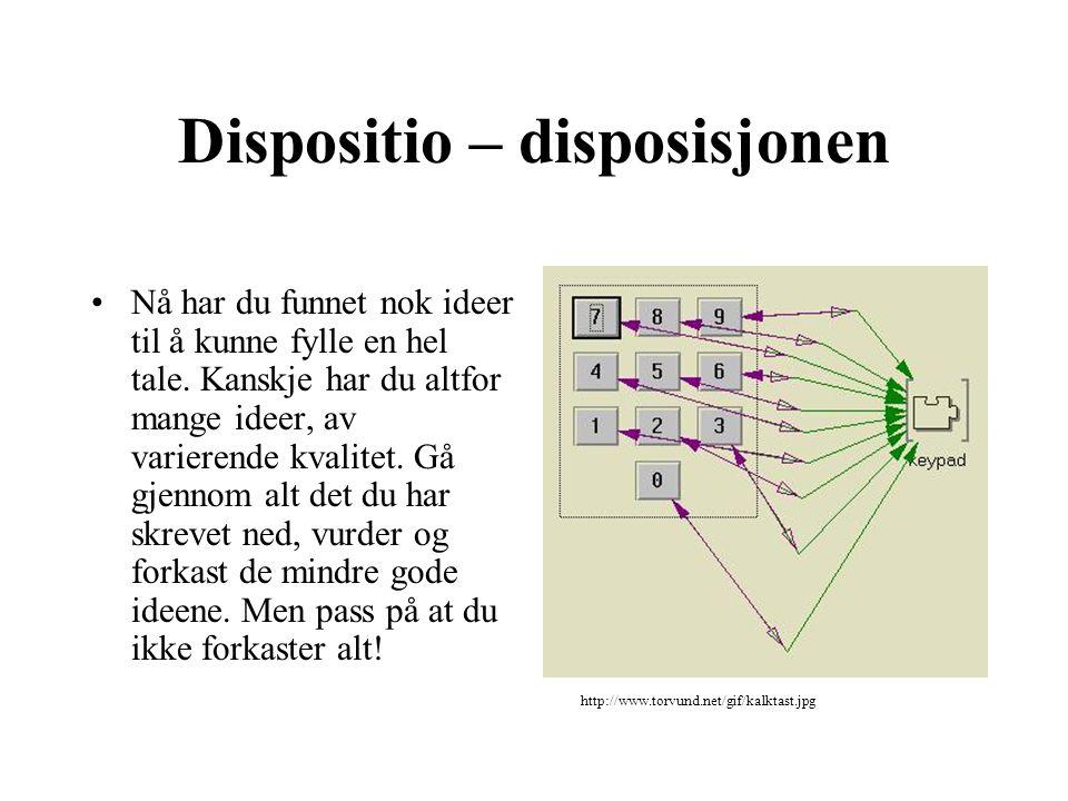 Dispositio – disposisjonen Nå har du funnet nok ideer til å kunne fylle en hel tale. Kanskje har du altfor mange ideer, av varierende kvalitet. Gå gje