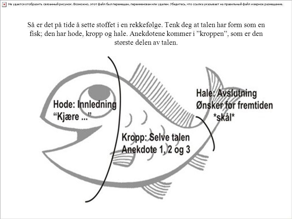 """Så er det på tide å sette stoffet i en rekkefølge. Tenk deg at talen har form som en fisk; den har hode, kropp og hale. Anekdotene kommer i """"kroppen"""","""