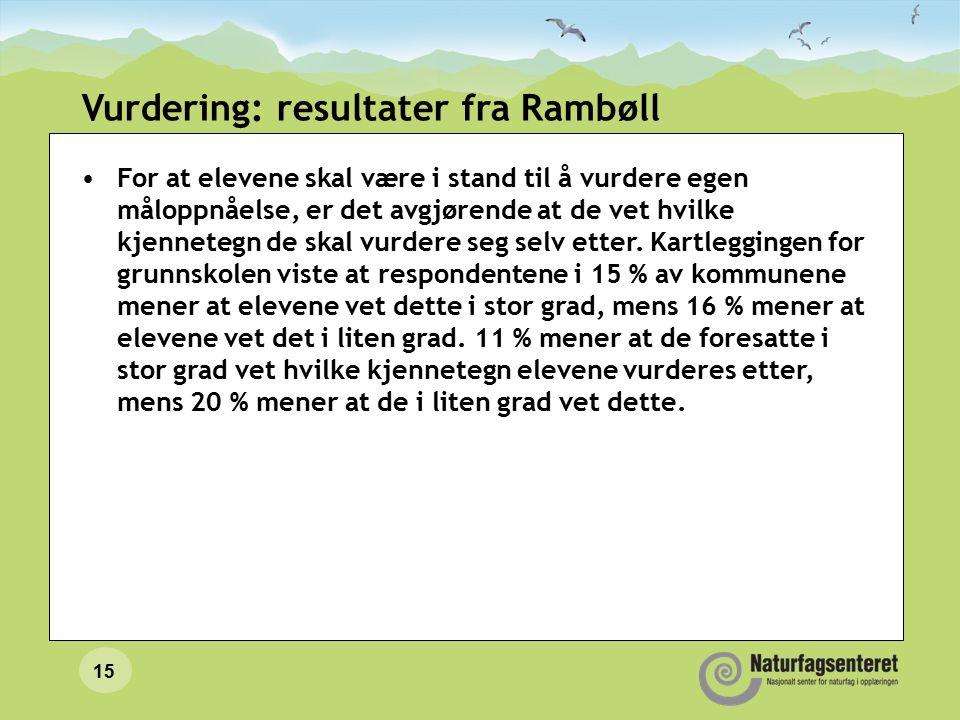 Vurdering: resultater fra Rambøll For at elevene skal være i stand til å vurdere egen måloppnåelse, er det avgjørende at de vet hvilke kjennetegn de skal vurdere seg selv etter.