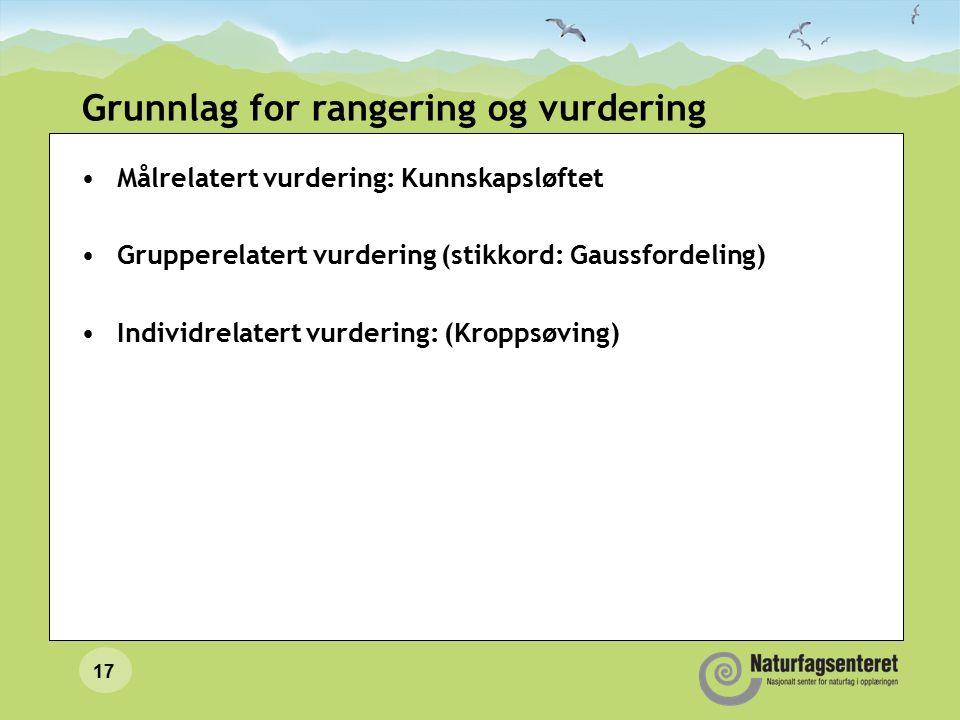 17 Grunnlag for rangering og vurdering Målrelatert vurdering: Kunnskapsløftet Grupperelatert vurdering (stikkord: Gaussfordeling) Individrelatert vurdering: (Kroppsøving)