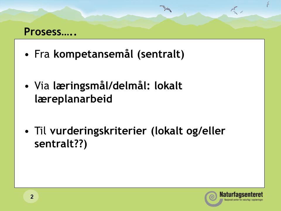 2 Prosess….. Fra kompetansemål (sentralt) Via læringsmål/delmål: lokalt læreplanarbeid Til vurderingskriterier (lokalt og/eller sentralt??)