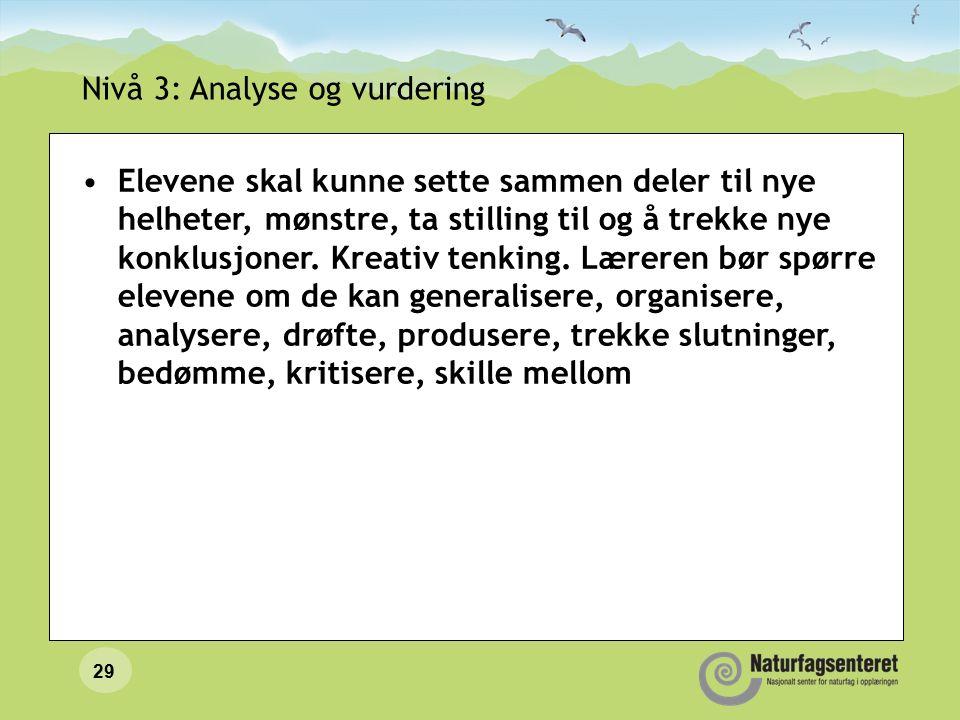 29 Nivå 3: Analyse og vurdering Elevene skal kunne sette sammen deler til nye helheter, mønstre, ta stilling til og å trekke nye konklusjoner.