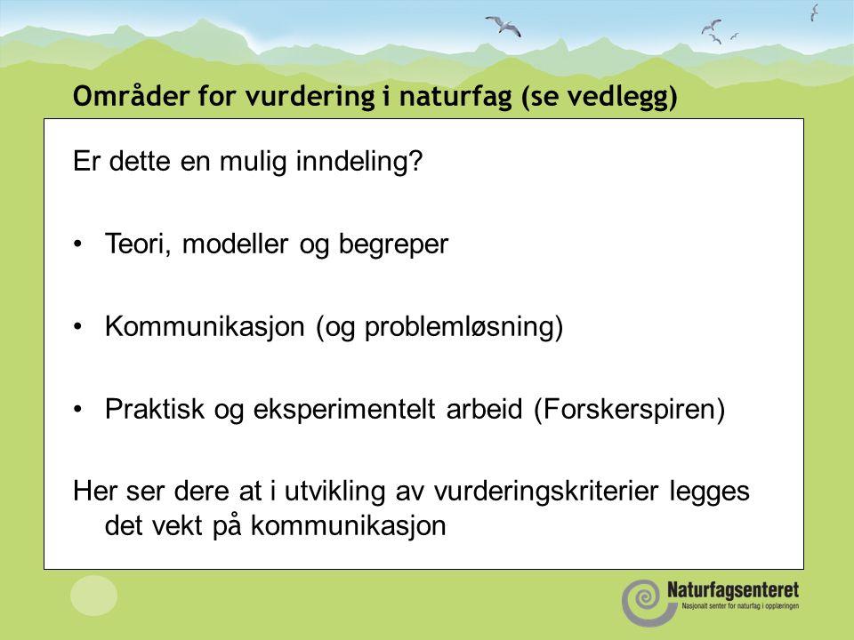 Områder for vurdering i naturfag (se vedlegg) Er dette en mulig inndeling.