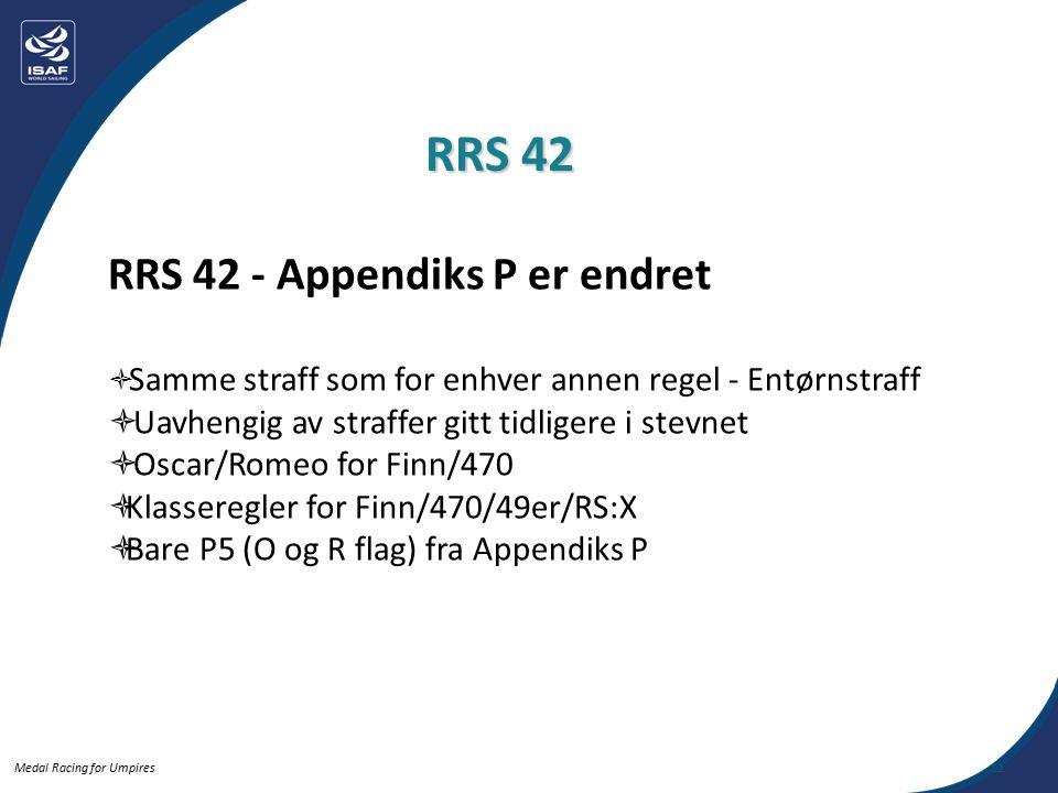 Medal Racing for Umpires RRS 42 - Appendiks P er endret  Samme straff som for enhver annen regel - Entørnstraff  Uavhengig av straffer gitt tidligere i stevnet  Oscar/Romeo for Finn/470  Klasseregler for Finn/470/49er/RS:X  Bare P5 (O og R flag) fra Appendiks P RRS 42 12