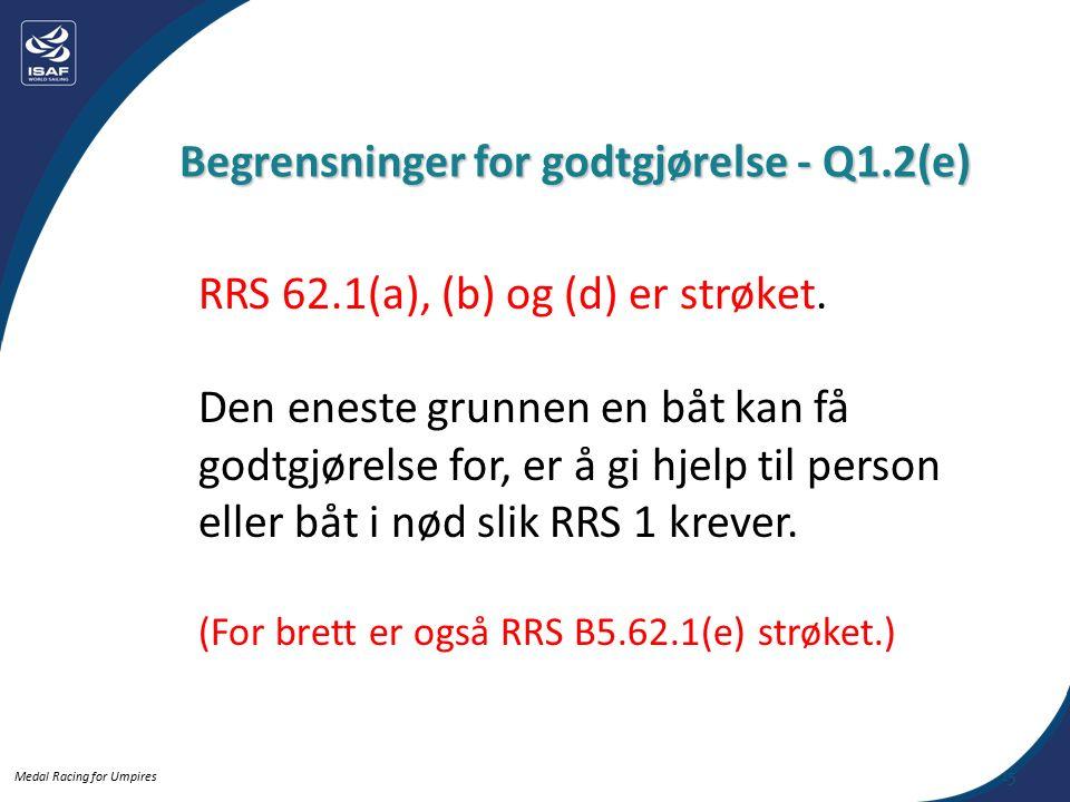 Medal Racing for Umpires RRS 62.1(a), (b) og (d) er strøket.