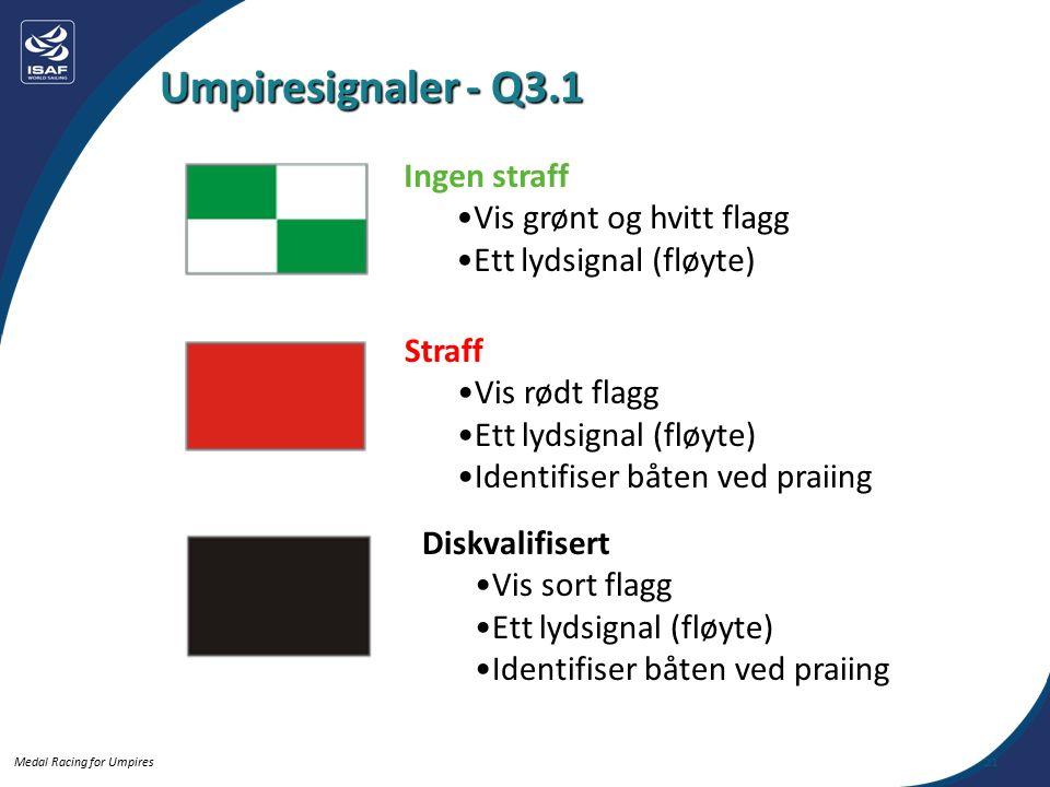Medal Racing for Umpires Umpiresignaler - Q3.1 21 Ingen straff Vis grønt og hvitt flagg Ett lydsignal (fløyte) Straff Vis rødt flagg Ett lydsignal (fløyte) Identifiser båten ved praiing Diskvalifisert Vis sort flagg Ett lydsignal (fløyte) Identifiser båten ved praiing