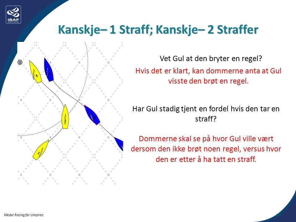 Medal Racing for Umpires Kanskje– 1 Straff; Kanskje– 2 Straffer 36 Vet Gul at den bryter en regel.