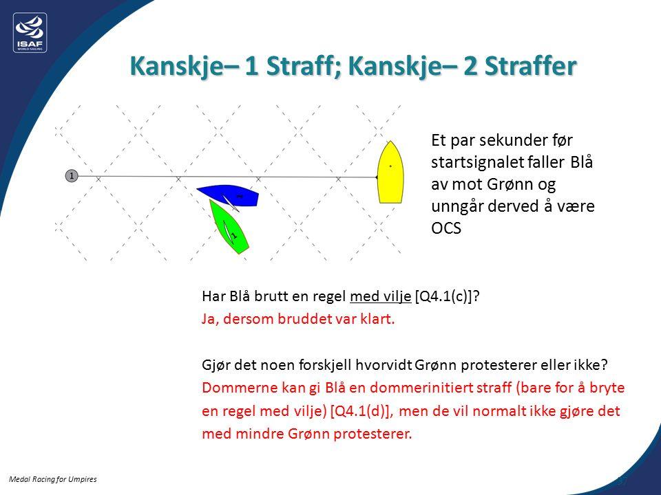 Medal Racing for Umpires Kanskje– 1 Straff; Kanskje– 2 Straffer 37 Har Blå brutt en regel med vilje [Q4.1(c)].
