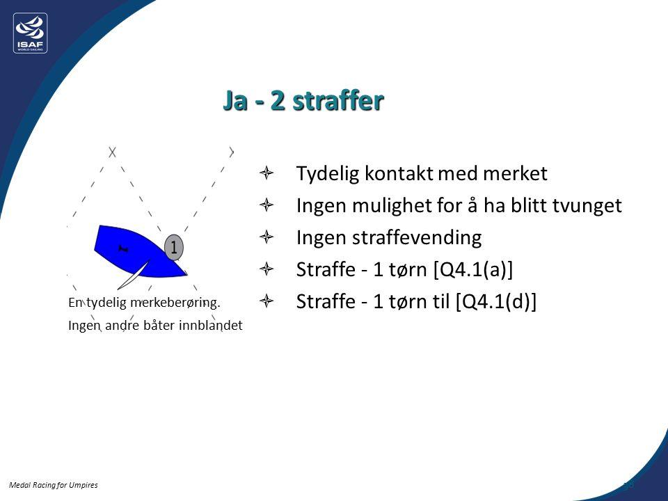 Medal Racing for Umpires Ja - 2 straffer En tydelig merkeberøring.