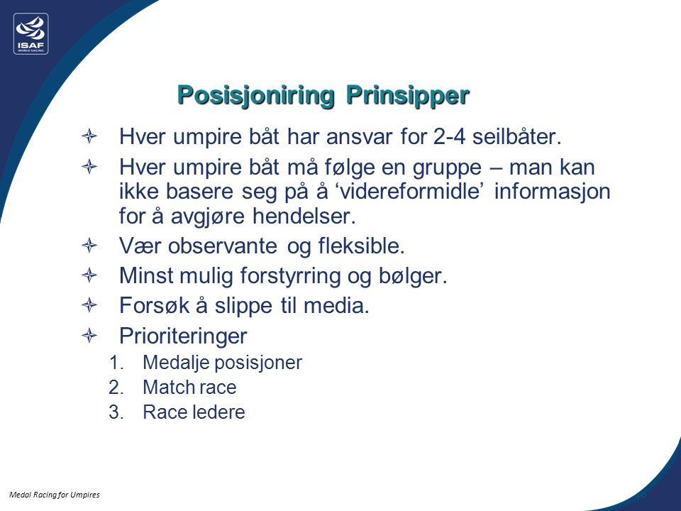 Medal Racing for Umpires Posisjoniring Prinsipper  Hver umpire båt har ansvar for 2-4 seilbåter.