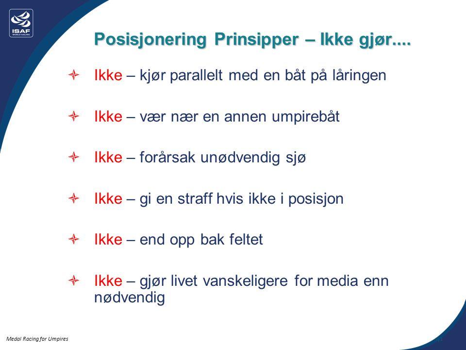 Medal Racing for Umpires Posisjonering Prinsipper – Ikke gjør....
