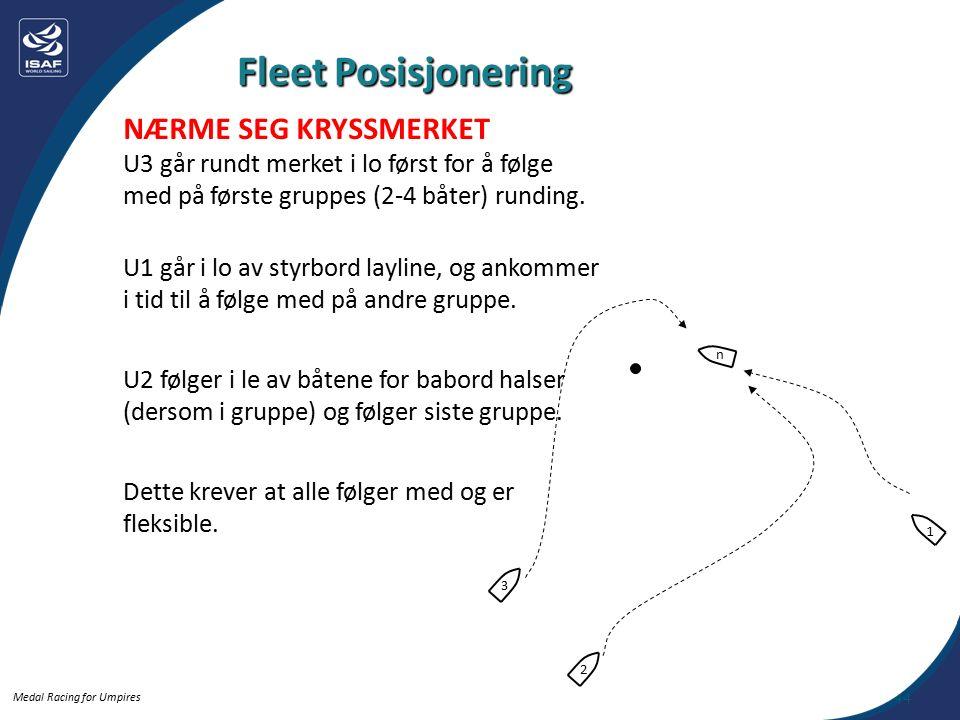 Medal Racing for Umpires NÆRME SEG KRYSSMERKET U3 går rundt merket i lo først for å følge med på første gruppes (2-4 båter) runding.