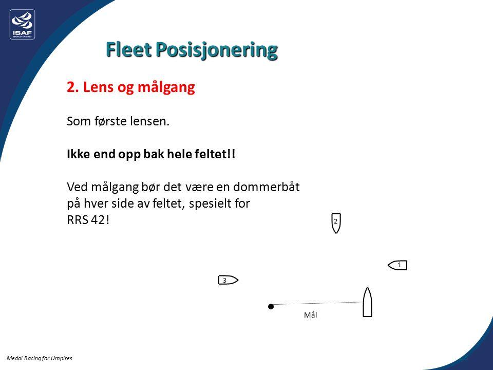 Medal Racing for Umpires 2. Lens og målgang Som første lensen.