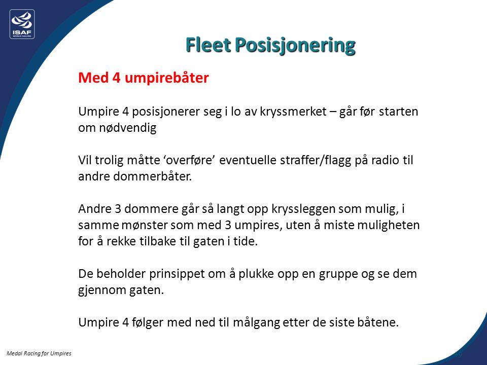 Medal Racing for Umpires Med 4 umpirebåter Umpire 4 posisjonerer seg i lo av kryssmerket – går før starten om nødvendig Vil trolig måtte 'overføre' eventuelle straffer/flagg på radio til andre dommerbåter.