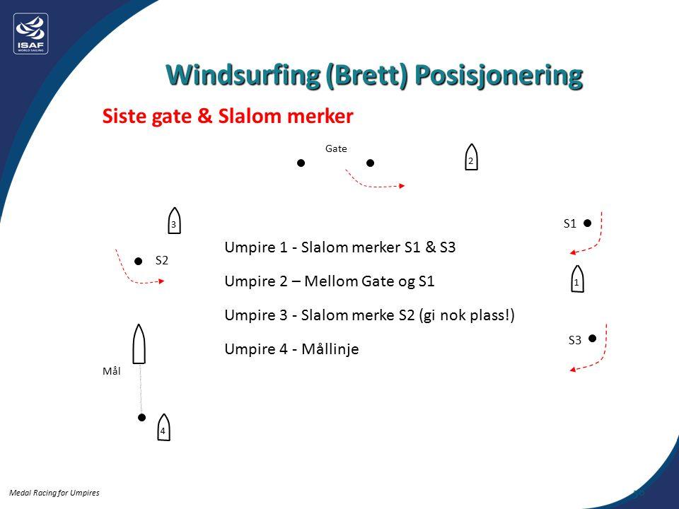 Medal Racing for Umpires 50 Siste gate & Slalom merker Windsurfing (Brett) Posisjonering Mål Umpire 1 - Slalom merker S1 & S3 Umpire 2 – Mellom Gate og S1 Umpire 3 - Slalom merke S2 (gi nok plass!) Umpire 4 - Mållinje Gate S2 S1 S3 4321