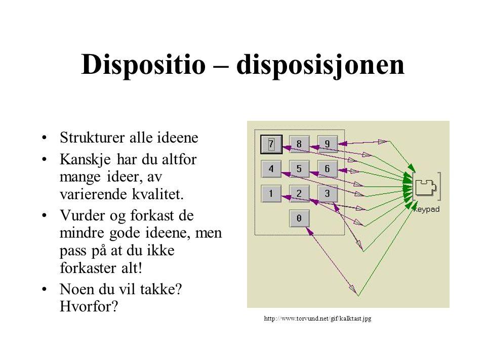 Dispositio – disposisjonen Strukturer alle ideene Kanskje har du altfor mange ideer, av varierende kvalitet. Vurder og forkast de mindre gode ideene,