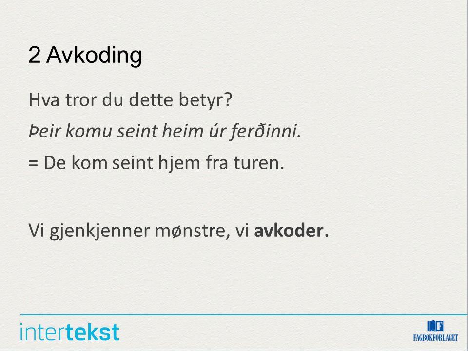 2 Avkoding Hva tror du dette betyr? Þeir komu seint heim úr ferðinni. = De kom seint hjem fra turen. Vi gjenkjenner mønstre, vi avkoder.