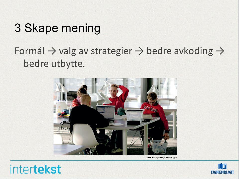 3 Skape mening Formål → valg av strategier → bedre avkoding → bedre utbytte.