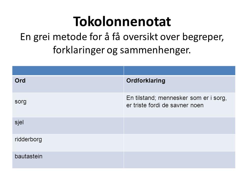 Tokolonnenotat En grei metode for å få oversikt over begreper, forklaringer og sammenhenger.