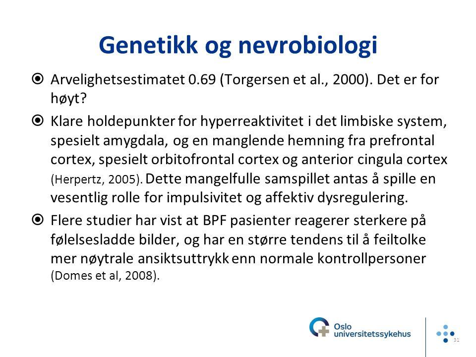 Genetikk og nevrobiologi  Arvelighetsestimatet 0.69 (Torgersen et al., 2000). Det er for høyt?  Klare holdepunkter for hyperreaktivitet i det limbis