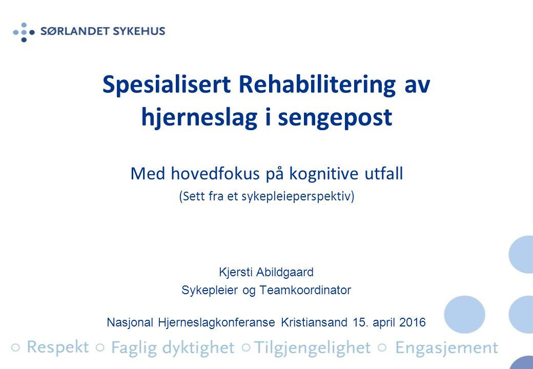 Spesialisert Rehabilitering av hjerneslag i sengepost Med hovedfokus på kognitive utfall (Sett fra et sykepleieperspektiv) Nasjonal Hjerneslagkonferanse Kristiansand 15.