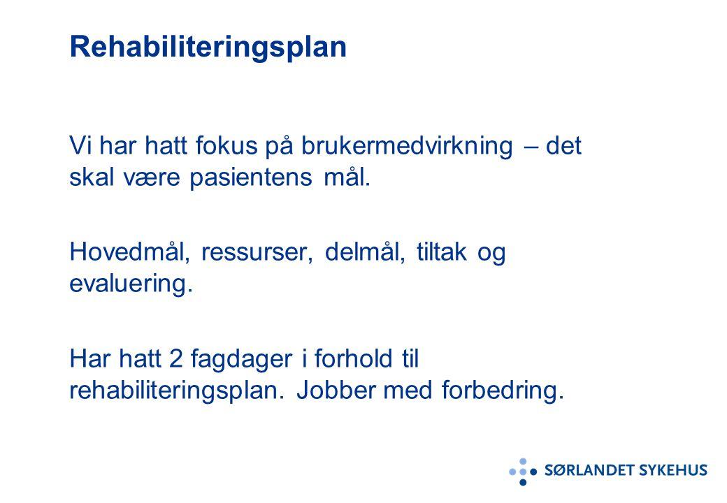 Rehabiliteringsplan Vi har hatt fokus på brukermedvirkning – det skal være pasientens mål. Hovedmål, ressurser, delmål, tiltak og evaluering. Har hatt