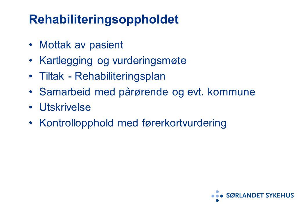 Mottak av pasient Kartlegging og vurderingsmøte Tiltak - Rehabiliteringsplan Samarbeid med pårørende og evt.
