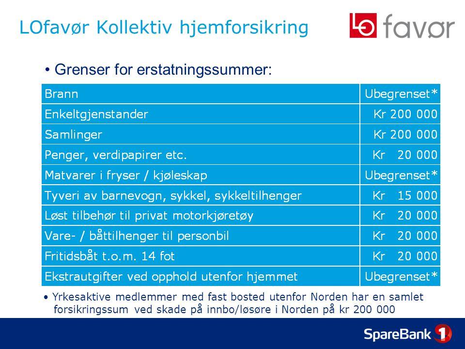 LOfavør Kollektiv hjemforsikring Grenser for erstatningssummer: Yrkesaktive medlemmer med fast bosted utenfor Norden har en samlet forsikringssum ved skade på innbo/løsøre i Norden på kr 200 000