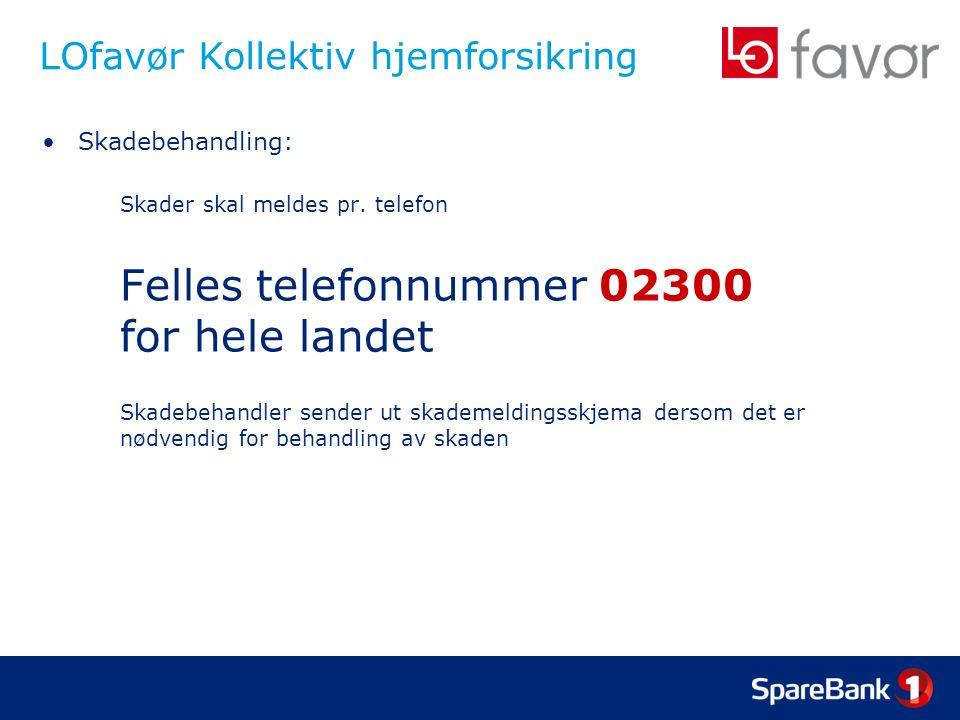 LOfavør Kollektiv hjemforsikring Skadebehandling: Skader skal meldes pr.