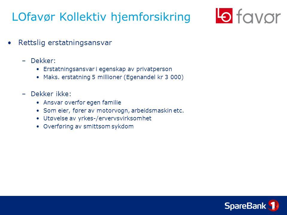 LOfavør Kollektiv hjemforsikring Rettslig erstatningsansvar –Dekker: Erstatningsansvar i egenskap av privatperson Maks.