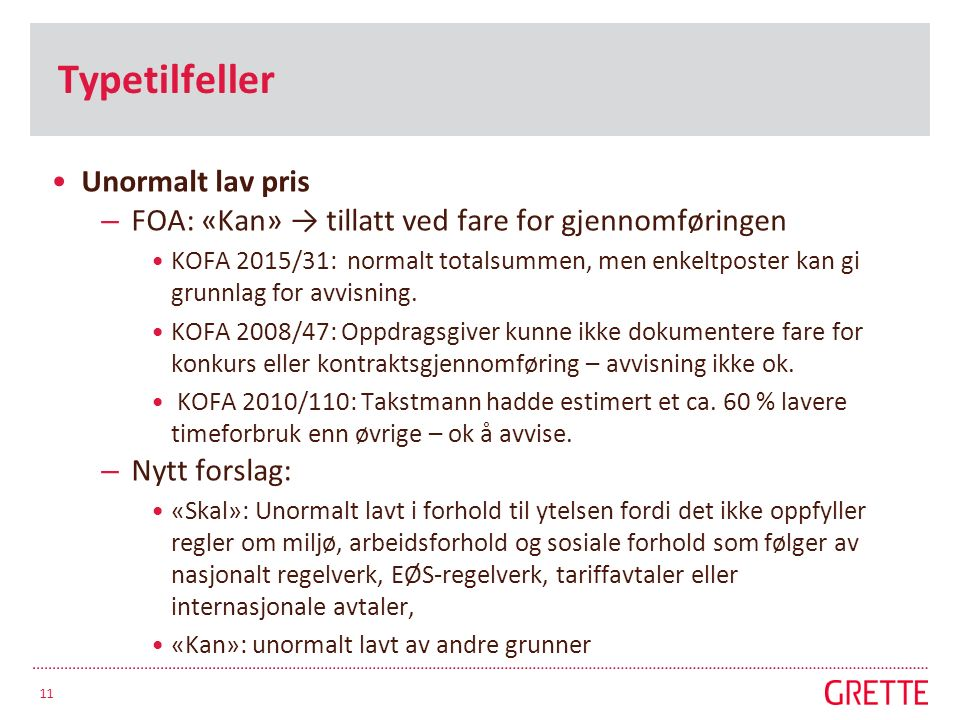 Typetilfeller Unormalt lav pris – FOA: «Kan» → tillatt ved fare for gjennomføringen KOFA 2015/31: normalt totalsummen, men enkeltposter kan gi grunnlag for avvisning.