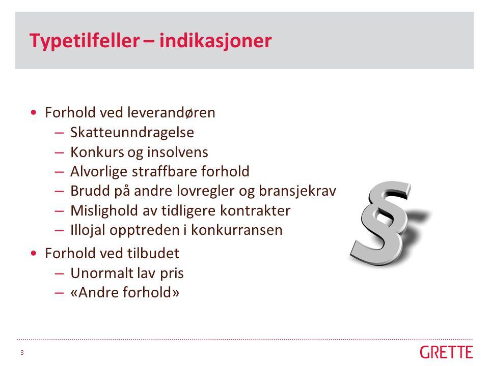Typetilfeller – indikasjoner Forhold ved leverandøren – Skatteunndragelse – Konkurs og insolvens – Alvorlige straffbare forhold – Brudd på andre lovre