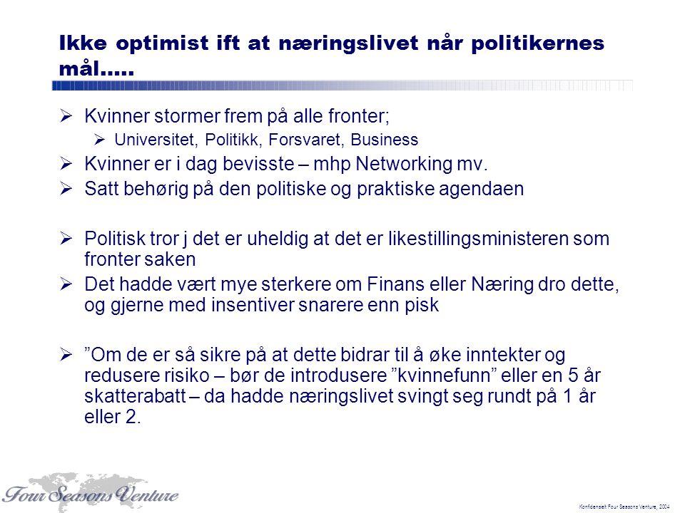 Konfidensielt Four Seasons Venture, 2004 Ikke optimist ift at næringslivet når politikernes mål…..