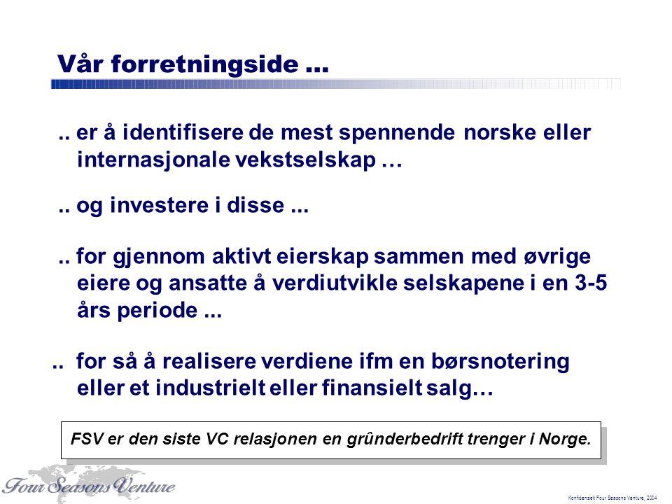 Konfidensielt Four Seasons Venture, 2004 Vår forretningside ….. er å identifisere de mest spennende norske eller internasjonale vekstselskap ….. og in
