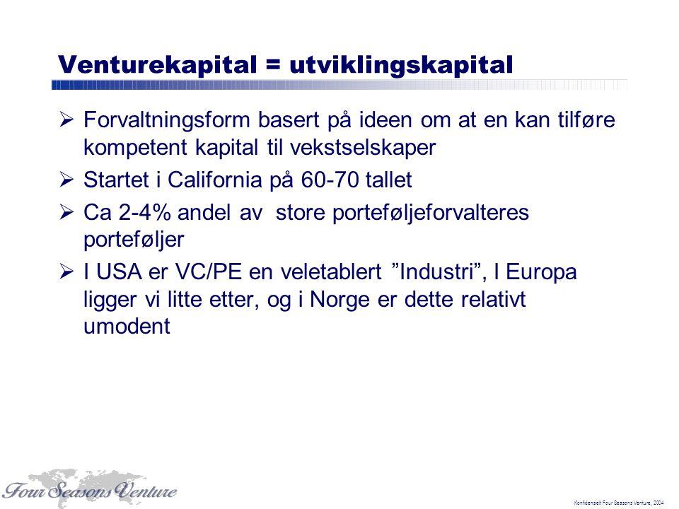 Konfidensielt Four Seasons Venture, 2004 Venturekapital = utviklingskapital  Forvaltningsform basert på ideen om at en kan tilføre kompetent kapital til vekstselskaper  Startet i California på 60-70 tallet  Ca 2-4% andel av store porteføljeforvalteres porteføljer  I USA er VC/PE en veletablert Industri , I Europa ligger vi litte etter, og i Norge er dette relativt umodent