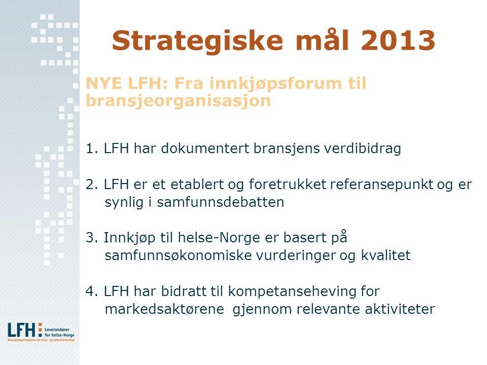 Strategiske mål 2013 NYE LFH: Fra innkjøpsforum til bransjeorganisasjon 1. LFH har dokumentert bransjens verdibidrag 2. LFH er et etablert og foretruk