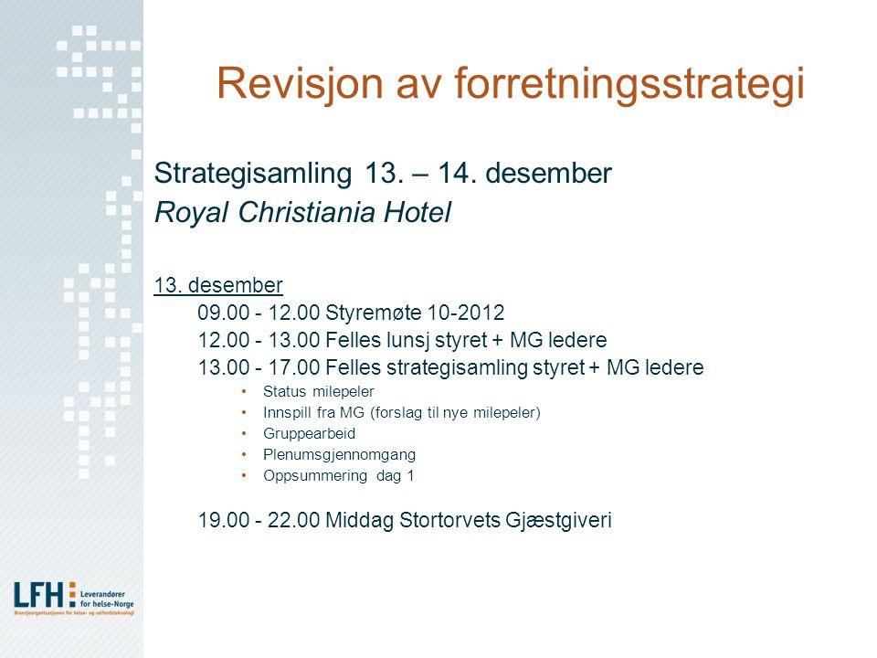 Revisjon av forretningsstrategi Strategisamling 13. – 14. desember Royal Christiania Hotel 13. desember 09.00 - 12.00 Styremøte 10-2012 12.00 - 13.00
