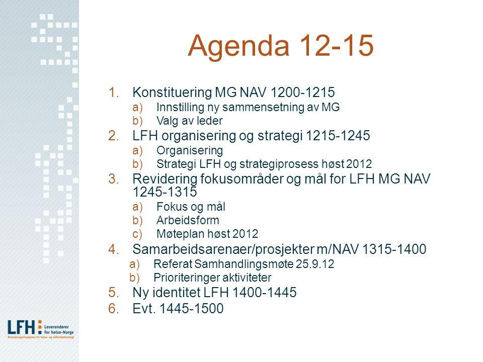 Agenda 12-15 1.Konstituering MG NAV 1200-1215 a)Innstilling ny sammensetning av MG b)Valg av leder 2.LFH organisering og strategi 1215-1245 a)Organise
